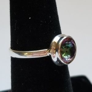 Jewelry - Sterling Silver mystic topaz round cut ring